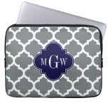 Charcoal White Moroccan #5 Navy 3 Initial Monogram Computer Sleeves