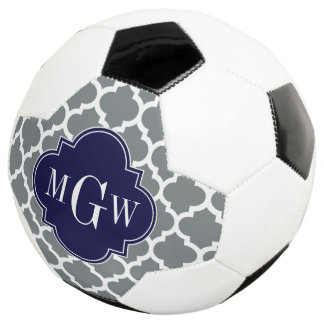 Charcoal White Moroccan #5 Navy 3 Initial Monogram Soccer Ball