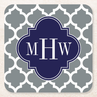 Charcoal White Moroccan #5 Navy 3 Initial Monogram Square Paper Coaster