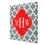 Charcoal, White Moroccan #5 Red 3 Initial Monogram Gallery Wrap Canvas