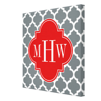 Charcoal, White Moroccan #5 Red 3 Initial Monogram Canvas Print