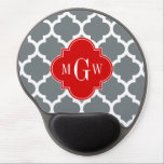 "Charcoal, White Moroccan #5 Red 3 Initial Monogram Gel Mouse Pad<br><div class=""desc"">Charcoal and White Moroccan Quatrefoil Trellis Pattern #5, Red Quatrefoil 3 Initial Monogram Customize this with your 3 initial monogram, name or other text. You can also change the font, adjust the font size and font color, move the text to adjust letter spacing, etc. Please note that this is a...</div>"
