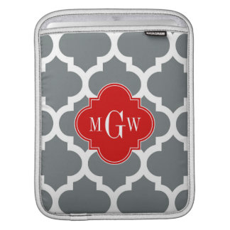 Charcoal, White Moroccan #5 Red 3 Initial Monogram iPad Sleeve