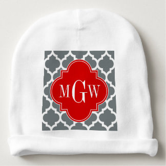 Charcoal, White Moroccan #5 Red 3 Initial Monogram Baby Beanie