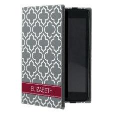 Charcoal White Moroccan #6 Burgundy Name Monogram Cover For iPad Mini