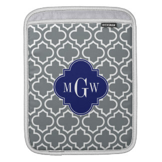 Charcoal White Moroccan #6 Navy 3 Initial Monogram Sleeve For iPads