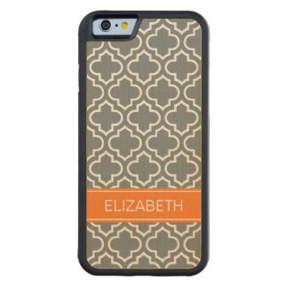 Charcoal White Moroccan #6 Pumpkin Name Monogram Carved Maple iPhone 6 Bumper Case