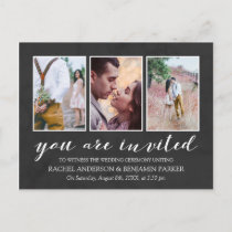 Charcoal & White Photo Collage Wedding Invitation