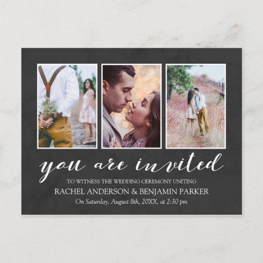 charcoal white photo collage wedding invitation zazzle com