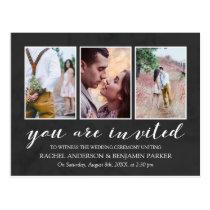 Charcoal & White Photo Collage Wedding Invitation Postcard