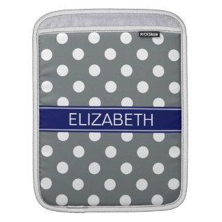 Charcoal White Polka Dots #2 Navy Name Monogram iPad Sleeve