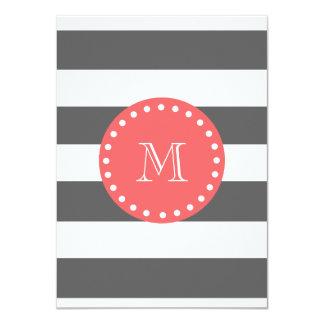 "Charcoal White Stripes Pattern, Coral Monogram 4.5"" X 6.25"" Invitation Card"