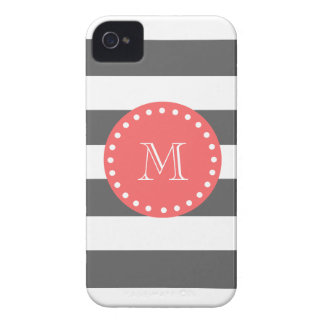 Charcoal White Stripes Pattern, Coral Monogram iPhone 4 Case-Mate Case