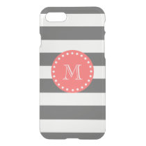 Charcoal White Stripes Pattern, Coral Monogram iPhone 8/7 Case