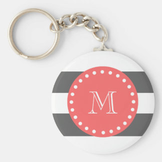 Charcoal White Stripes Pattern, Coral Monogram Keychain
