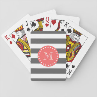 Charcoal White Stripes Pattern, Coral Monogram Playing Cards