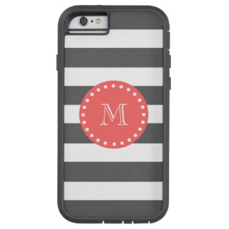 Charcoal White Stripes Pattern, Coral Monogram Tough Xtreme iPhone 6 Case