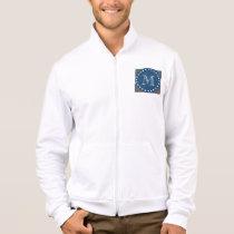 Charcoal White Stripes Pattern, Navy Blue Monogram Jacket