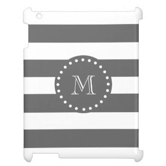 Charcoal White Stripes Pattern, Your Monogram Case For The iPad