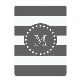 """Charcoal White Stripes Pattern, Your Monogram 4.5"""" X 6.25"""" Invitation Card"""