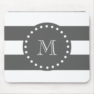 Charcoal White Stripes Pattern, Your Monogram Mouse Pad