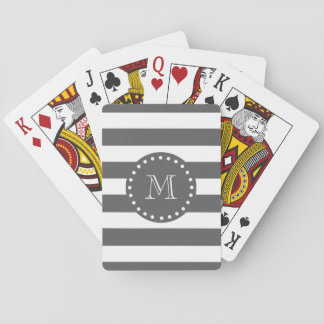 Charcoal White Stripes Pattern, Your Monogram Playing Cards
