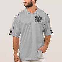 Charcoal White Stripes Pattern, Your Monogram Polo Shirt