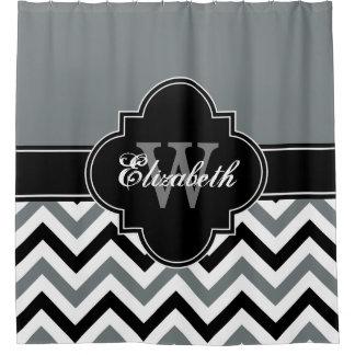 Charcoal Wht Black LG Chevron 1ICBR Name Monogram Shower Curtain