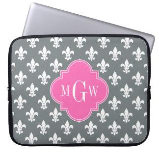Charcoal Wht Fleur de Lis Hot Pink 3 Init Monogram Laptop Sleeve