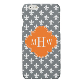 Charcoal Wht Fleur de Lis Pumpkin 3 Init Monogram Glossy iPhone 6 Case