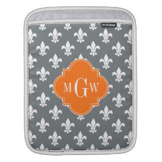 Charcoal Wht Fleur de Lis Pumpkin 3 Init Monogram Sleeves For iPads