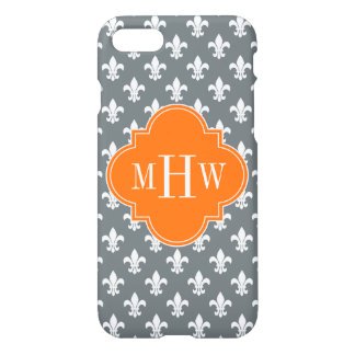 Charcoal Wht Fleur de Lis Pumpkin 3 Init Monogram iPhone 7 Case