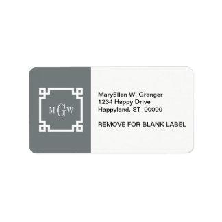 Charcoal Wht Greek Key #2 Framed 3 Init Monogram Label