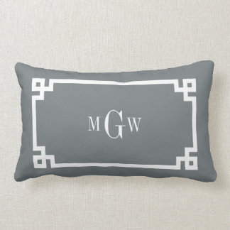 Charcoal Wht Greek Key #2 Framed 3 Init Monogram Lumbar Pillow