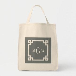 Charcoal Wht Greek Key #2 Framed 3 Init Monogram Tote Bag