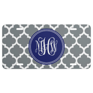 Charcoal Wht Moroccan #5 Navy 3 Init Vine Monogram License Plate