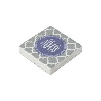 Charcoal Wht Moroccan #5 Navy 3 Init Vine Monogram Stone Magnet
