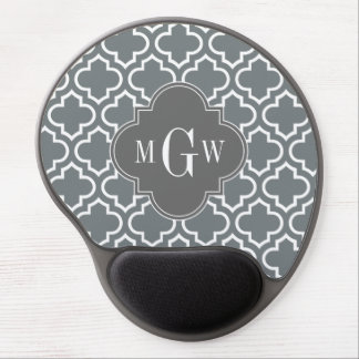 Charcoal Wht Moroccan #6 Dim Gray 3 Init Monogram Gel Mouse Pad