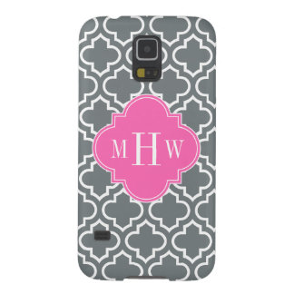 Charcoal Wht Moroccan #6 Hot Pink 3 Init Monogram Case For Galaxy S5