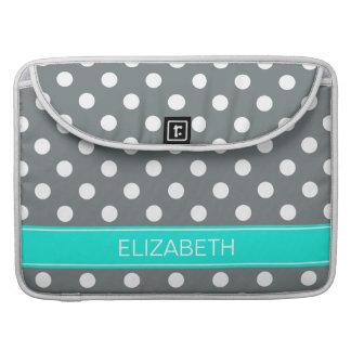 Charcoal Wht Polka Dots #2 Brt Aqua Name Monogram MacBook Pro Sleeve