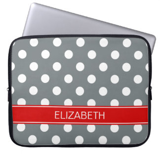 Charcoal Wht Polka Dots #2 Red Name Monogram Laptop Sleeve