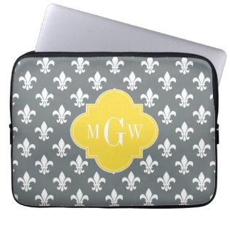 Charcoal Wt Fleur de Lis Pineapple 3 Init Monogram Computer Sleeve