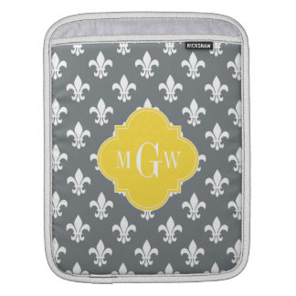 Charcoal Wt Fleur de Lis Pineapple 3 Init Monogram iPad Sleeve