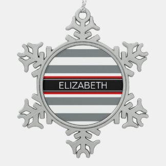 Charcoal Wt Horz Preppy Stripe Black Name Monogram Snowflake Pewter Christmas Ornament
