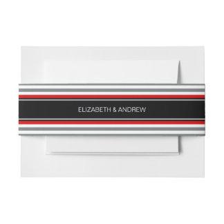 Charcoal Wt Horz Preppy Stripe Black Name Monogram Invitation Belly Band