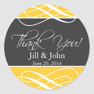 Charcoal Yellow Thank You Favor Labels Wedding Round Sticker