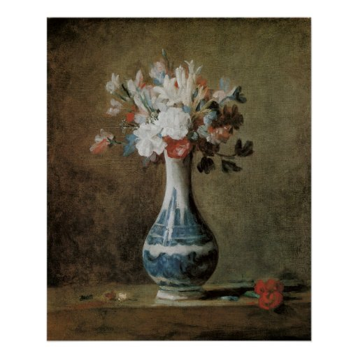 Chardin Flowers in a blue vase Poster