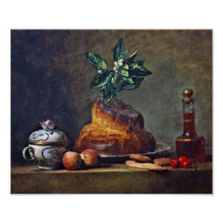 Chardin - Vintage Still Life with Brioche Poster