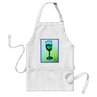 CHARDONNAY IN BLUE GLASS BY JILL ADULT APRON