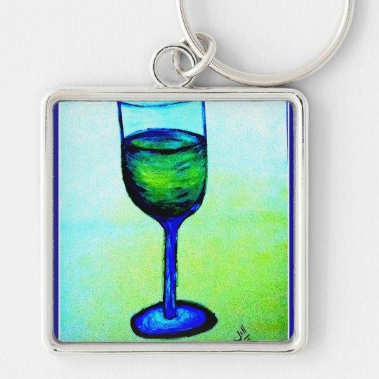 CHARDONNAY IN BLUE GLASS BY JILL KEYCHAIN